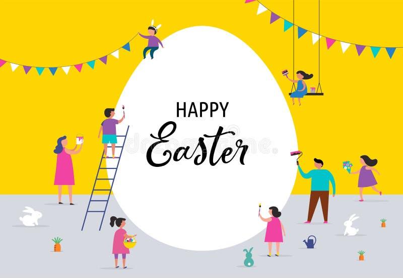 Bandera feliz de Pascua con las familias y los niños stock de ilustración
