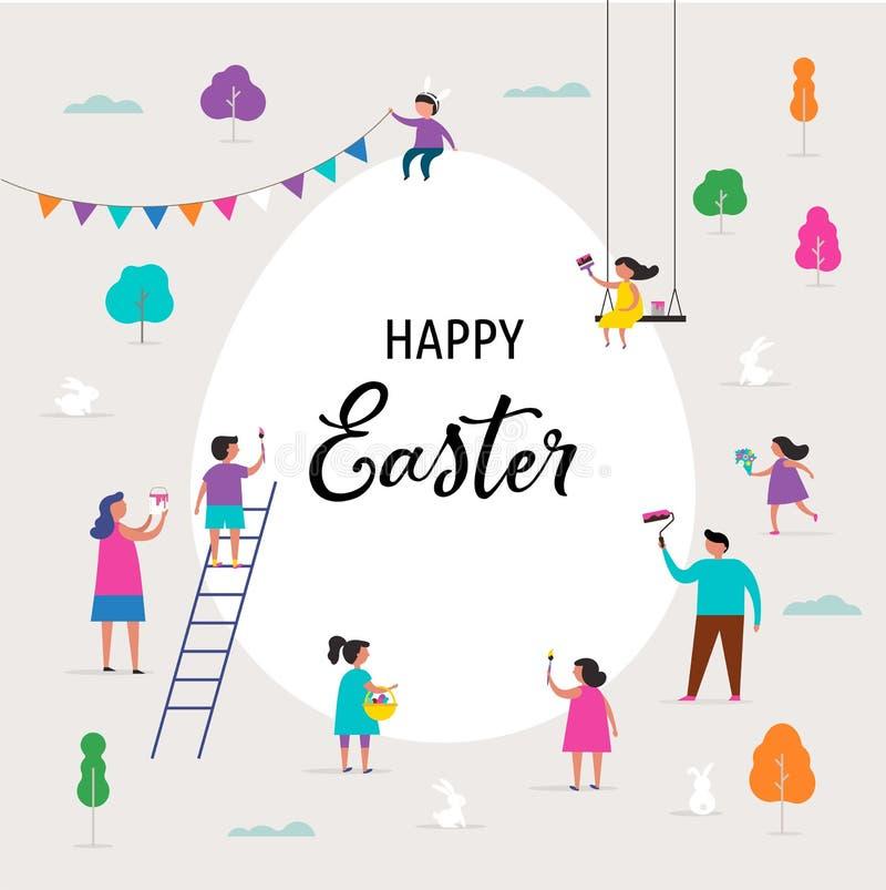 Bandera feliz de Pascua con las familias y los niños libre illustration