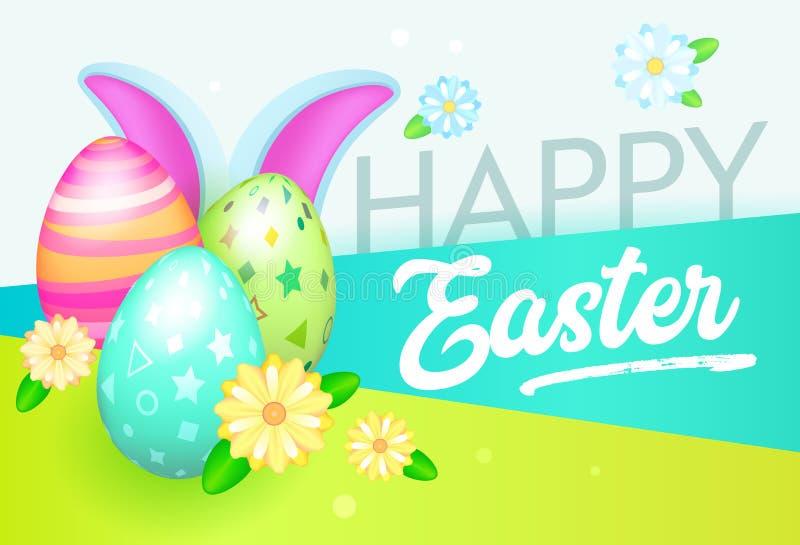 Bandera feliz de Pascua con los huevos y el conejo La plantilla de la tarjeta de felicitación de Pascua con las flores y los elem libre illustration