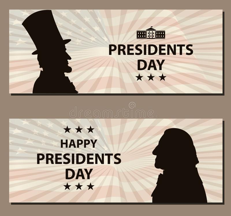 Bandera feliz de presidentes Day Vintage Siluetas de George Washington y de Abraham Lincoln con la bandera como fondo libre illustration