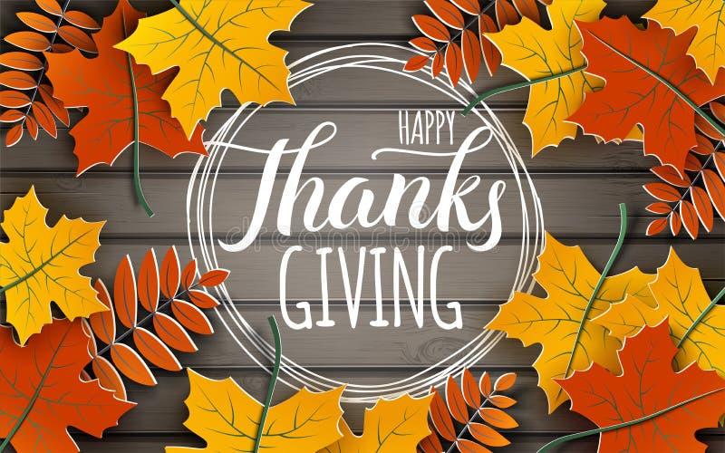 Bandera feliz del Día de Acción de Gracias con el texto de la enhorabuena en marco El árbol del otoño deja la frontera en fondo d ilustración del vector