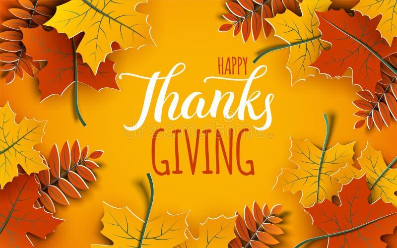 Bandera feliz del Día de Acción de Gracias 3d con el texto de la enhorabuena El árbol del otoño sale del marco, fondo amarillo stock de ilustración