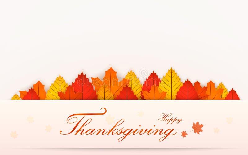 Bandera feliz del día de la acción de gracias Fondo de la falta de definición del otoño Ilustración del vector ilustración del vector