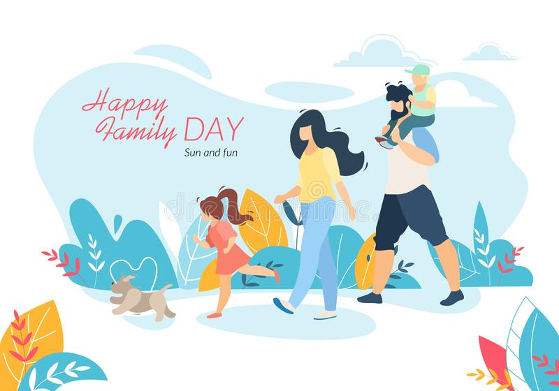 Bandera feliz del día de la familia, el caminar al aire libre con los niños ilustración del vector