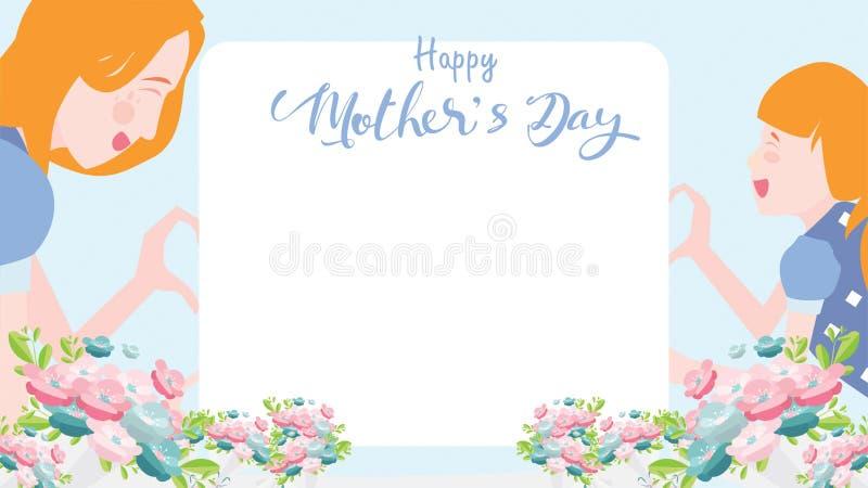 Bandera feliz del día del ` s de la madre La hija del niño felicita felicidad que juega y sonriente de la mamá así como las manos ilustración del vector