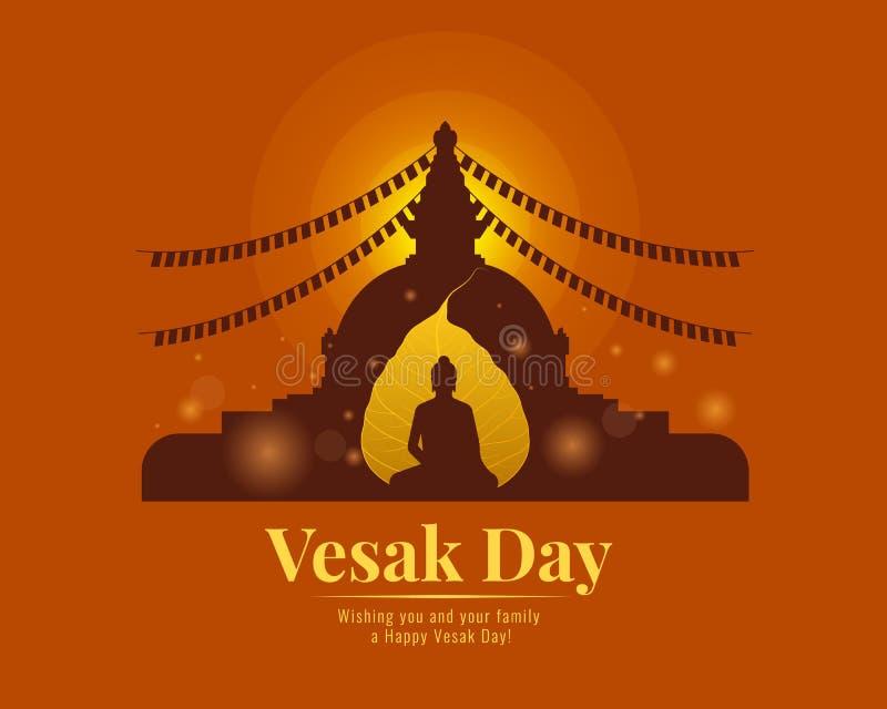 Bandera feliz del día del vesak con la hoja Buda del bodhi del oro y el diseño del vector de la pagoda ilustración del vector