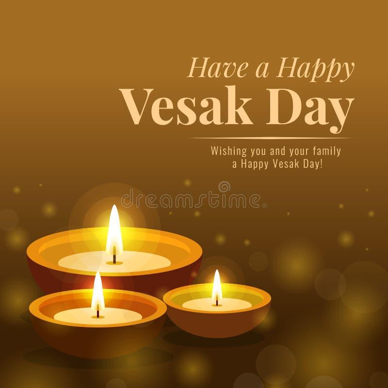 Bandera feliz del día del vesak con la luz de la lámpara para adorar el diseño del vector de Buda ilustración del vector