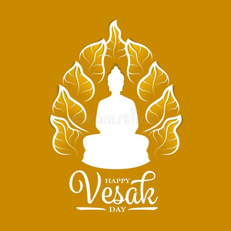 Bandera feliz del día del vesak con la meditación de Buda adentro alrededor de diseño del vector de la muestra de la hoja del bod libre illustration