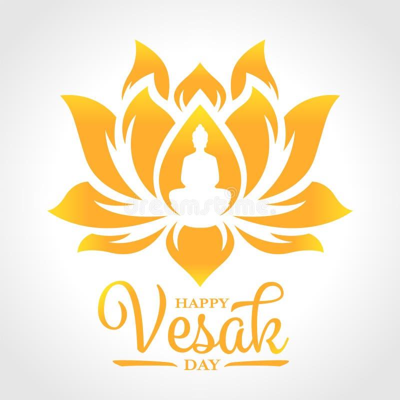 Bandera feliz del día del vesak con la meditación de Buda en muestra de la flor de loto del oro en el diseño blanco del vector de libre illustration