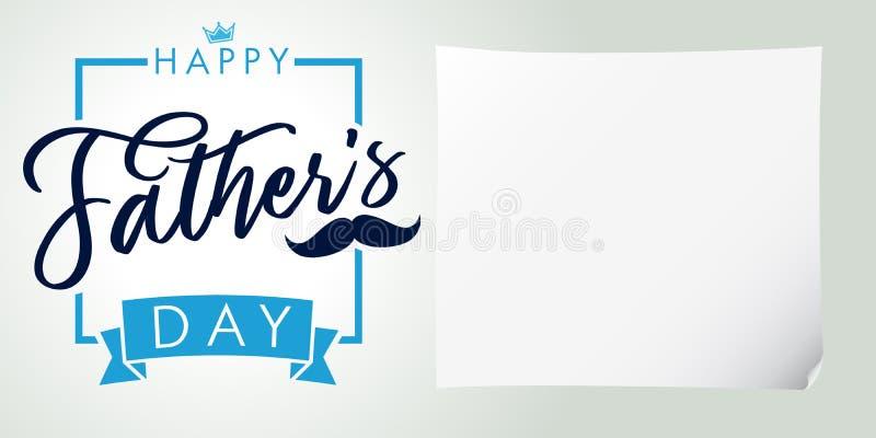 Bandera feliz del saludo de las letras de día del ` s del padre ilustración del vector