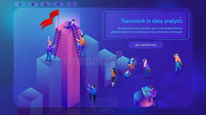 Bandera financiera del web del vector del trabajo en equipo del Analytics ilustración del vector