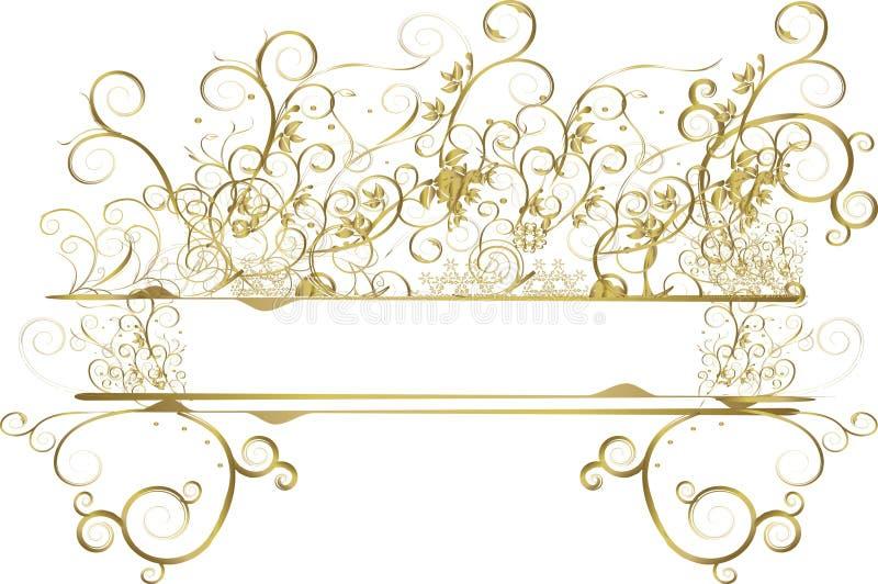 Bandera floral del oro stock de ilustración