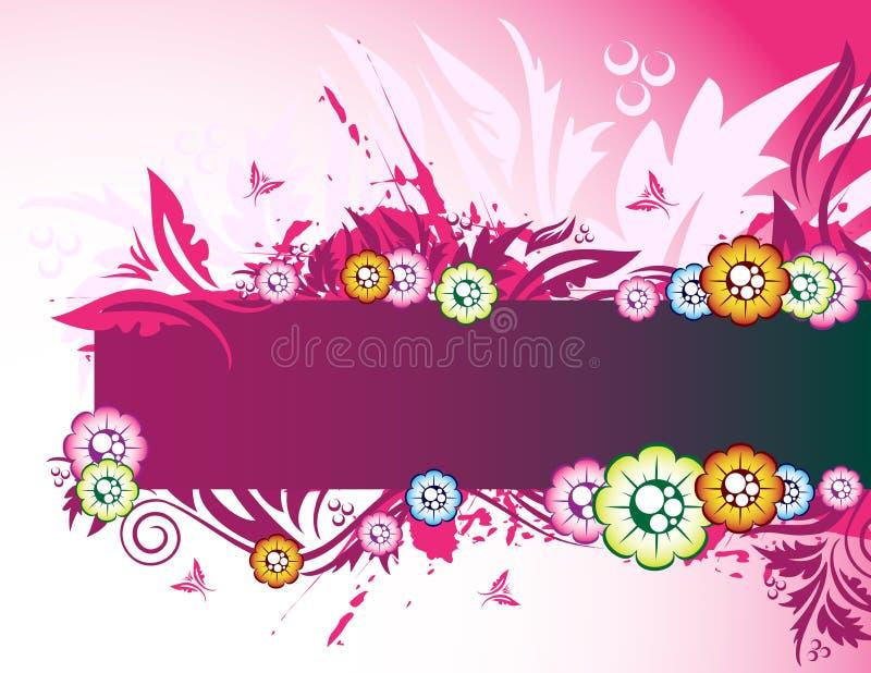 Bandera floral rosada stock de ilustración
