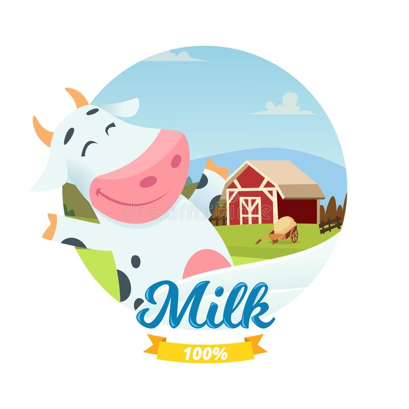 Bandera fresca del vector de la leche de la granja con la vaca feliz del personaje de dibujos animados libre illustration