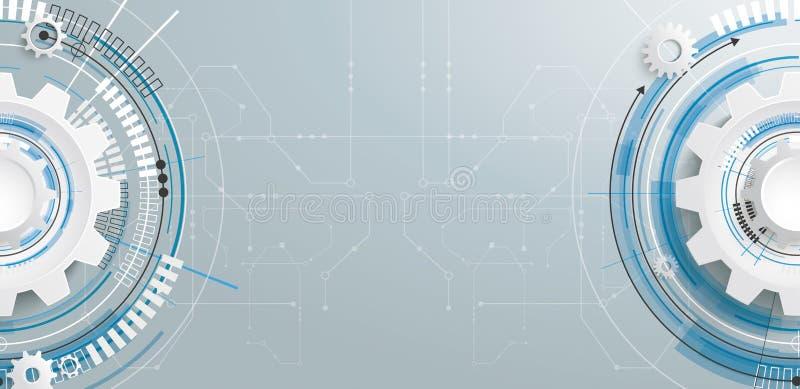 Bandera futurista de la placa de circuito de la construcción del engranaje libre illustration