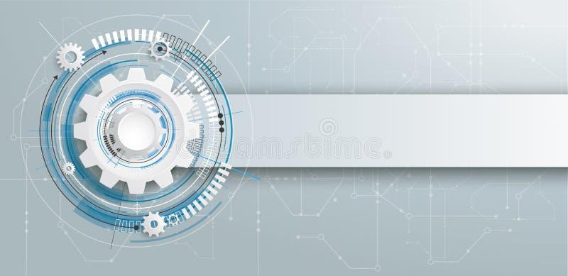 Bandera futurista de la placa de circuito de la construcción del engranaje ilustración del vector