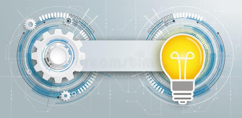 Bandera futurista de la placa de circuito del bulbo de la construcción del engranaje ilustración del vector