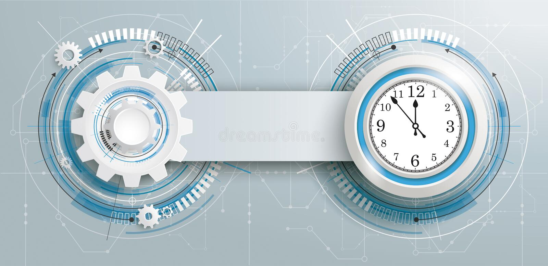 Bandera futurista de la placa de circuito del reloj de la construcción del engranaje stock de ilustración