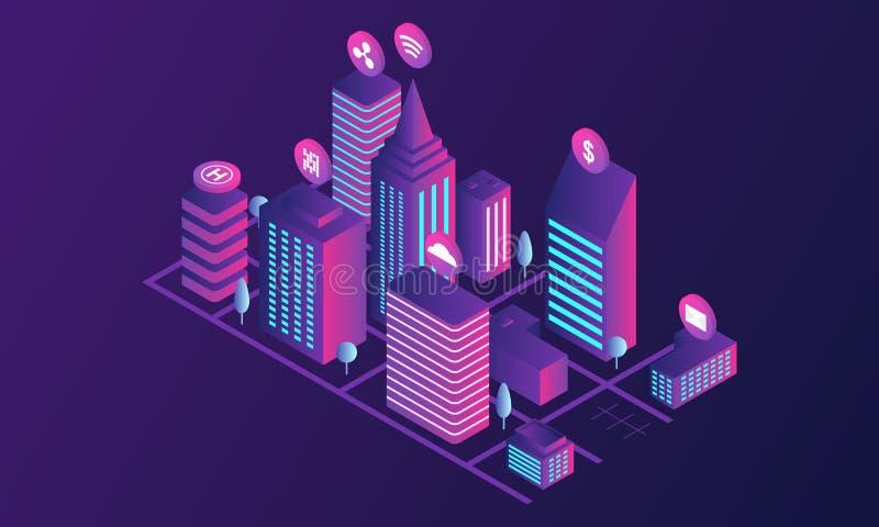 Bandera futurista del concepto de la ciudad, estilo isométrico libre illustration