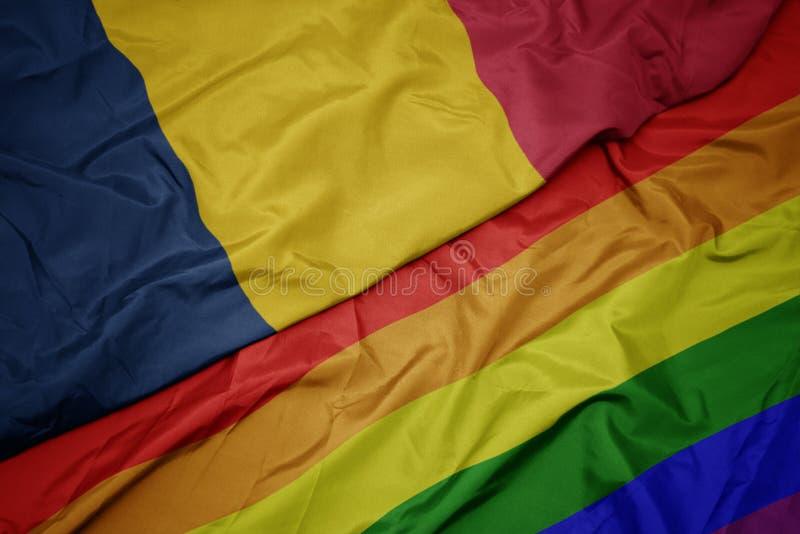 bandera gay colorida del arco iris que agita y bandera nacional del sábalo imagen de archivo libre de regalías