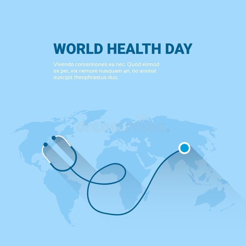 Bandera global del día de fiesta del día del mundo de la salud del estetoscopio del planeta de la tierra con el espacio de la cop ilustración del vector