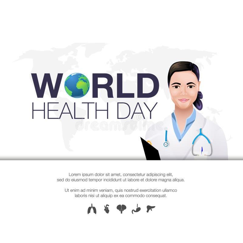 Bandera global del día de fiesta del día del mundo de la salud del planeta de la tierra con el ejemplo plano del vector del espac libre illustration