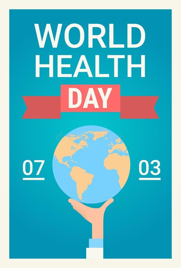 Bandera global del día de fiesta del día del mundo de la salud del planeta de médico Hand Hold Earth stock de ilustración