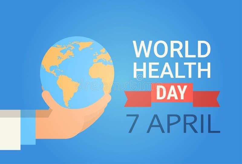 Bandera global del día de fiesta del día del mundo de la salud del planeta de médico Hand Hold Earth ilustración del vector