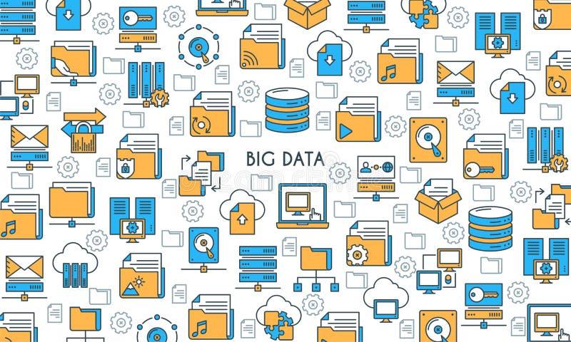 Bandera grande de la tecnología de los datos stock de ilustración