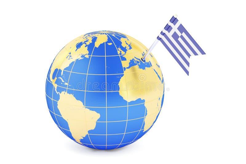 Bandera griega del perno en mapa del globo libre illustration
