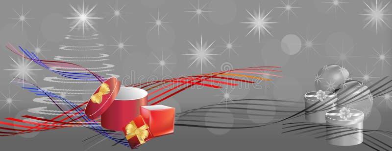 Bandera gris de la Navidad con las cintas del color y las cajas de regalo ilustración del vector