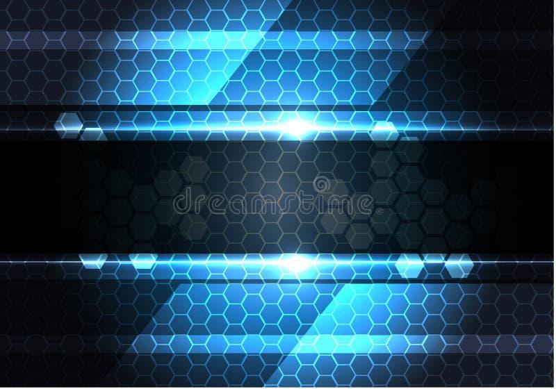 Bandera gris oscuro abstracta en vector moderno del fondo de la tecnología del diseño de la luz de la malla del hexágono ilustración del vector