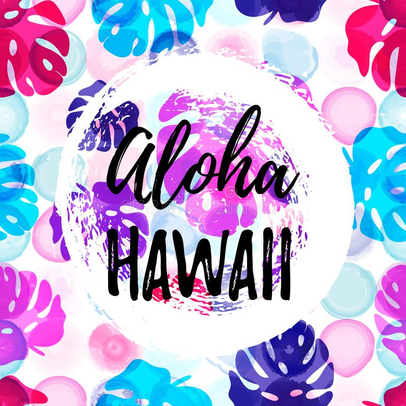 Bandera gteeting de HAWAII de la HAWAIANA E ilustración del vector
