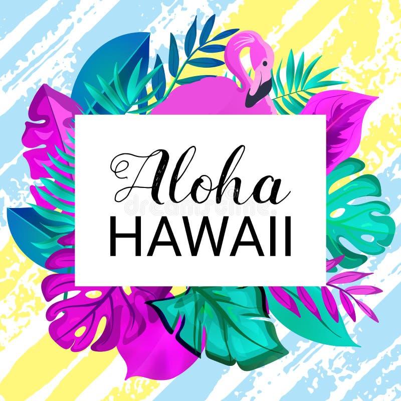 Bandera gteeting de HAWAII de la HAWAIANA Hojas de palma tropicales y fondo dibujado rosado del cepillo del flamenco a mano libre illustration
