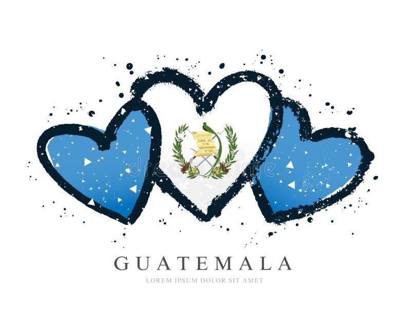 Bandera guatemalteca bajo la forma de tres corazones Ilustraci?n del vector libre illustration
