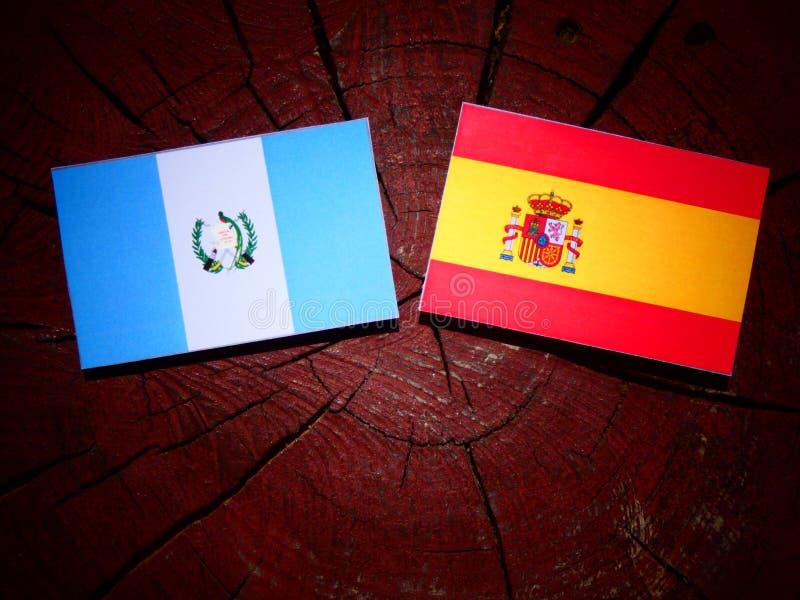 Bandera guatemalteca con la bandera española en un tocón de árbol fotos de archivo libres de regalías