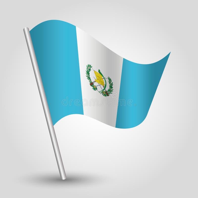 Bandera guatemalteca del triángulo del vector que agita en el polo de plata inclinado - símbolo de Guatemala con el palillo del m stock de ilustración