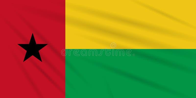 Bandera Guinea-Bissau que se sacude en el viento, vector stock de ilustración