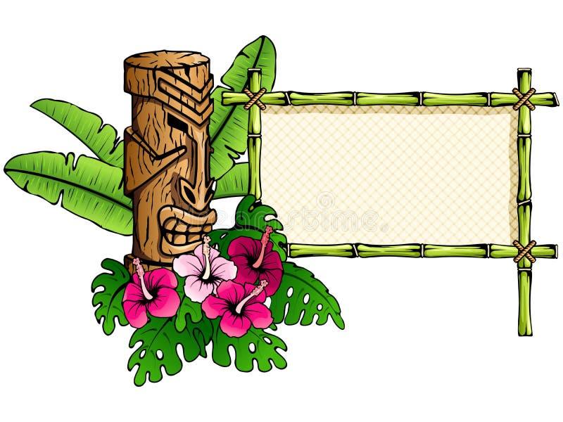 Bandera hawaiana detallada con la estatua del tiki ilustración del vector