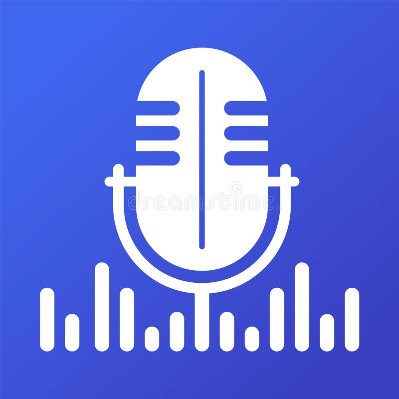 Bandera hecha un podcast de la web del vector Icono del micrófono en azul libre illustration