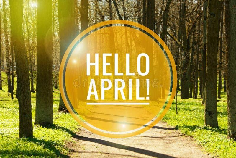 Bandera hola abril Hola primavera Hola abril La tarjeta agradable estamos esperando el nuevo mes de la primavera El segundo mes d imagenes de archivo