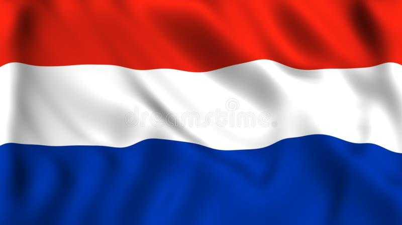 Bandera holandesa que agita en el viento stock de ilustración