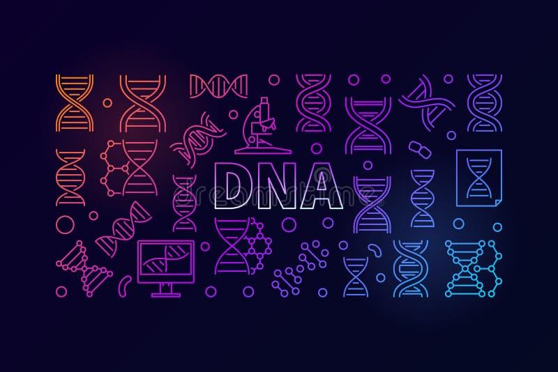 Bandera horizontal colorida de la ciencia del vector de la DNA stock de ilustración