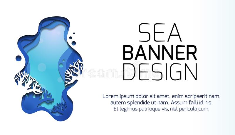 Bandera horizontal con el ejemplo 3d del paisaje marino con los filones, cortado del papel Escena acodada con el lugar para el te libre illustration