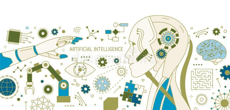 Bandera horizontal con el robot, brazo robótico, manipulante automático, dispositivos tecnológicos innovadores artificial ilustración del vector