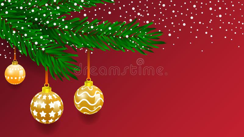 Bandera horizontal con la guirnalda y los ornamentos del árbol de navidad Oro y cintas colgantes Grande para los aviadores, carte ilustración del vector