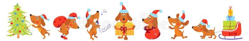 Bandera horizontal con los perros de la Navidad ilustración del vector