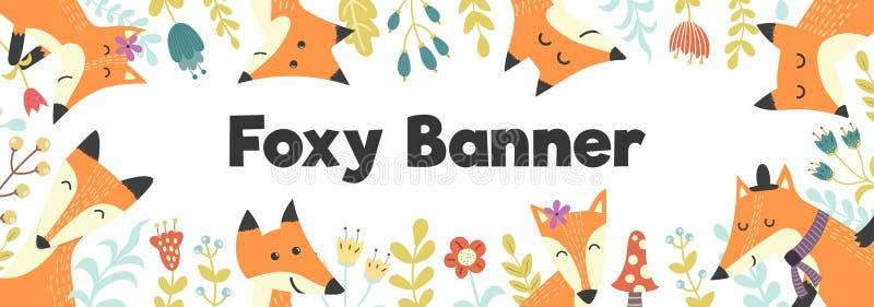 Bandera horizontal con los zorros y las plantas lindos Fondo del bosque con el lugar para su tex ilustración del vector