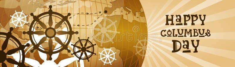 Bandera horizontal de Columbus Day America Discover Holiday del cartel de felicitación del mapa del mundo retro feliz de la tarje stock de ilustración