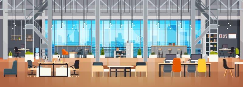 Bandera horizontal de Coworking del espacio de Coworking de la oficina del espacio creativo moderno interior vacío del lugar de t ilustración del vector